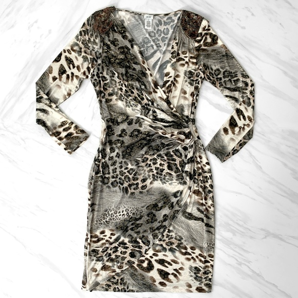 Cache Dresses & Skirts - Cache Long Sleeved Animal Print Dress